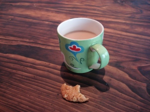 A cup of Earl Grey and an Anzac biscuit, perfect